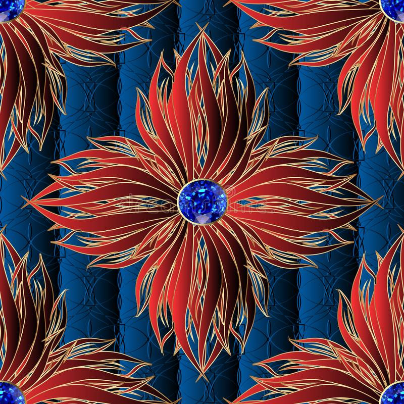 3d red flowers jewelry vector seamless pattern. Textured ornamental dark blue floral background. Elegance ornament with surface vector illustration