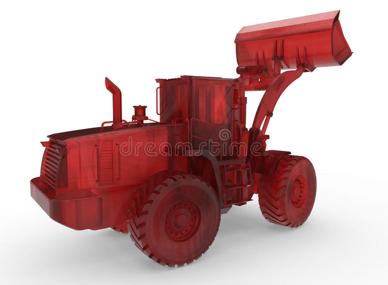 3D red glass bulldozer concept royalty free illustration