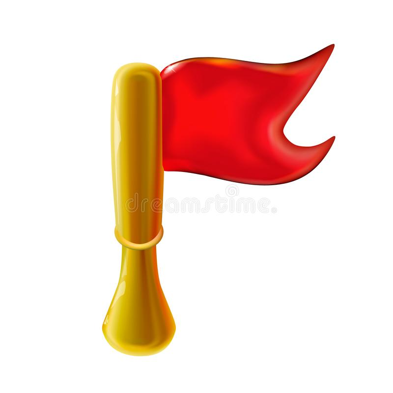 3d red glossy pennant or little flag on rack for holiday, presentation realistic plastic toy for children. Design shiny icon royalty free illustration