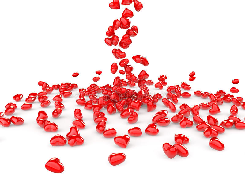 3d red hearts falling stock image