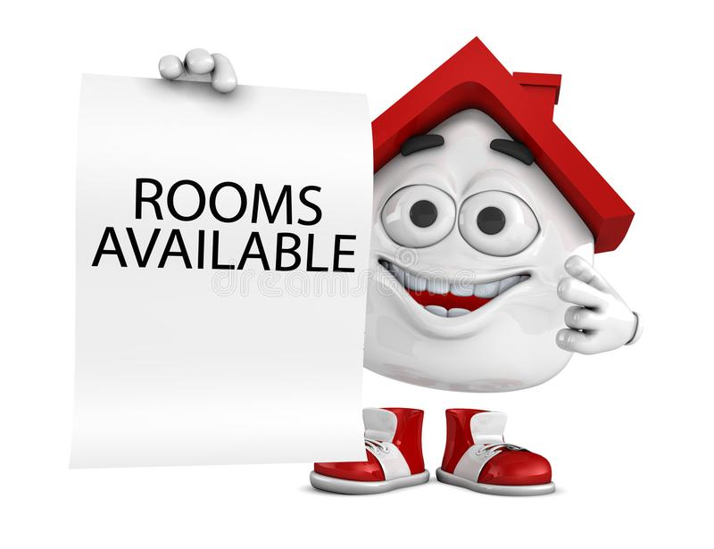 3d red house character concept - Rooms available. 3d Illustration red house character concept - Rooms available royalty free illustration