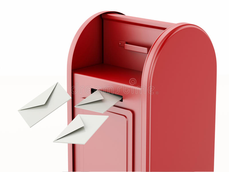 3d Red mail box with heap of letters. 3d illustration. Red mail box with heap of letters. Isolated white background stock illustration