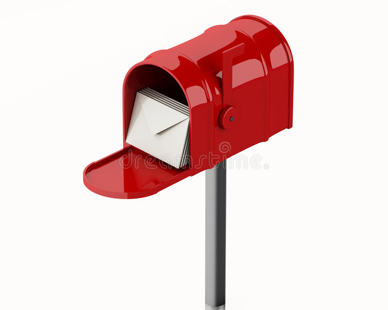 3d Red mail box with heap of letters. 3d illustration. Red mail box with heap of letters. Isolated white background royalty free illustration