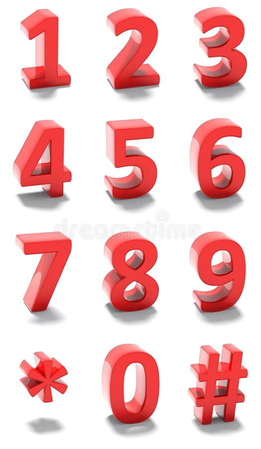 Download 3d red numbers stock illustration. Image of graphic, call - 32025987