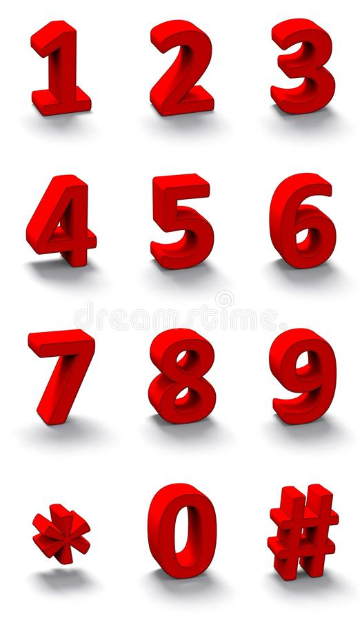 3d red numbers stock illustration