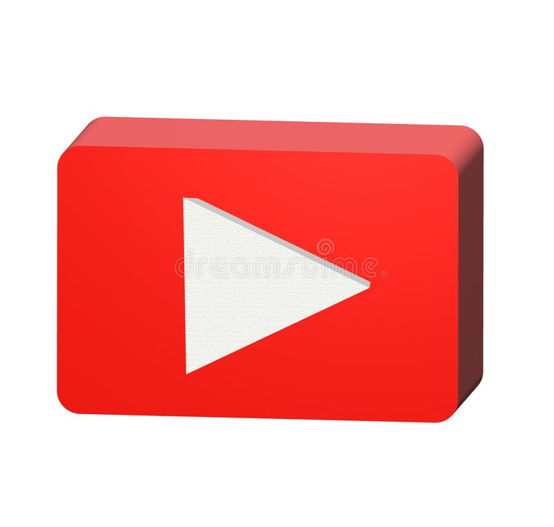 3D red play button icon on white background. 3d render of play button icon for your web site design, logo, app, UI. Play button stock illustration