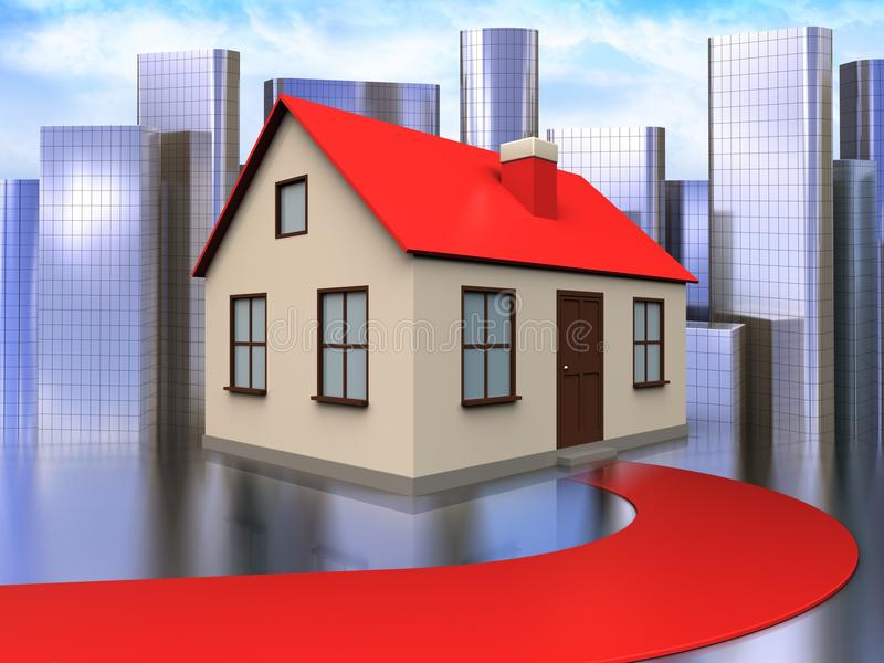 3d red road over city. 3d illustration of house with red road over city background stock illustration