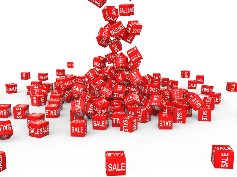 3d red sale cubes falling royalty free stock images