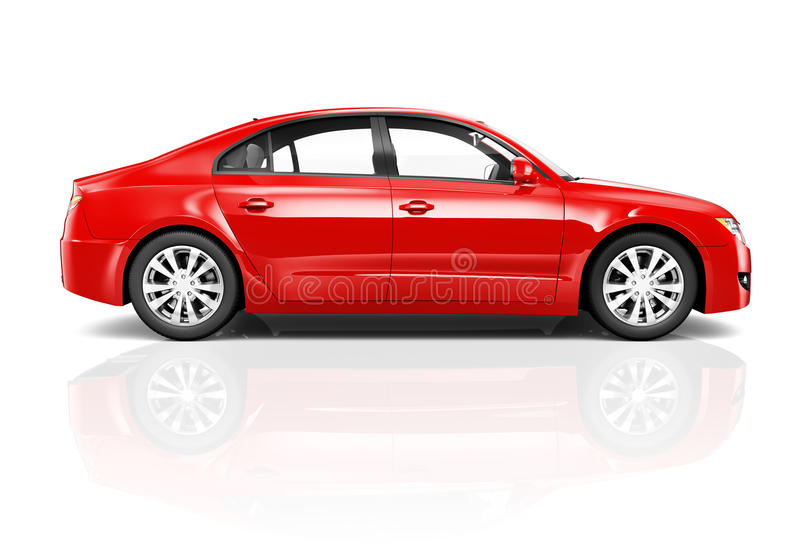 3D Red Sedan Car On White Background Stock Illustration ...