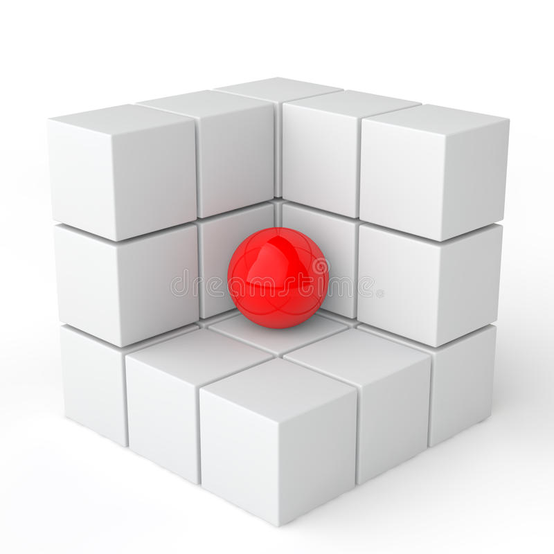 3d red sphere in white cubes. 3d render of red sphere in white cubes vector illustration