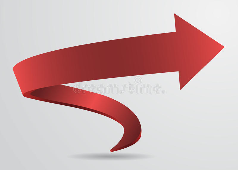 3d red spiral arrow pointer sign vector illustration  stock vector