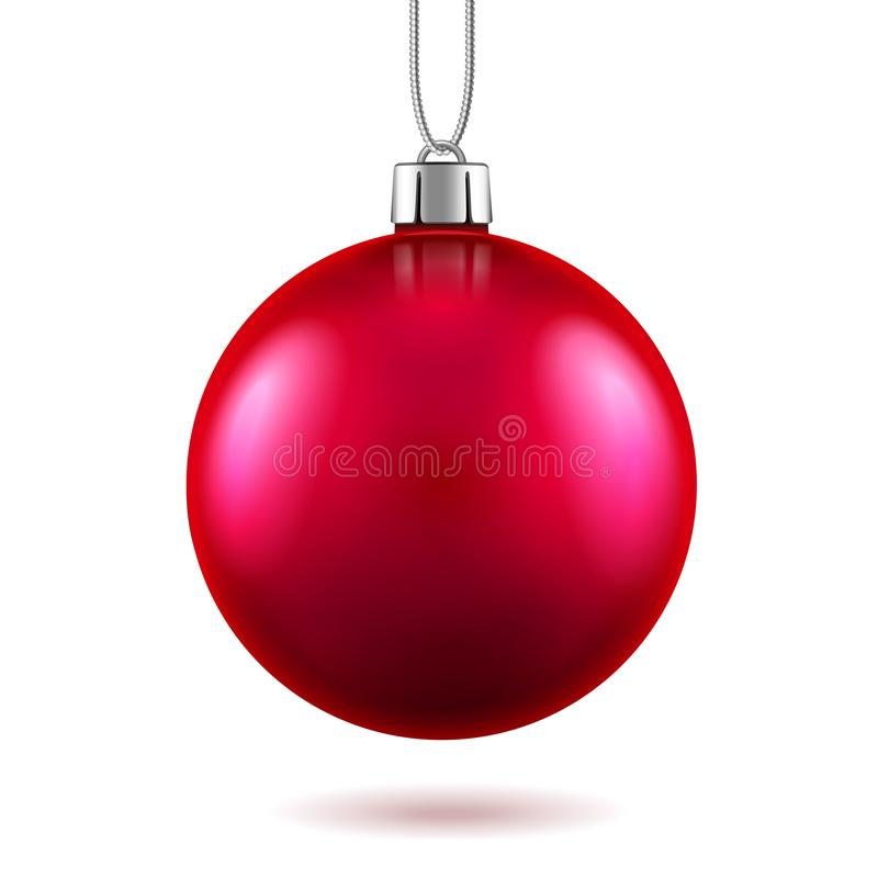 3d red toy for 2019 new year or christmas. 3d red toy for 2019 new year or realistic vermillion ball for merry christmas decoration. Xmas bauble with shadow or royalty free illustration