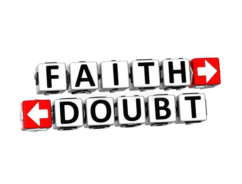 3D redacta la fe y la duda en el fondo blanco ilustración del vector