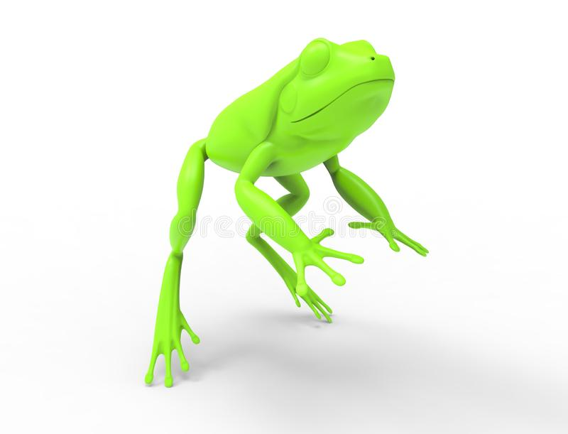 3d rednering of a jumping frog isolated in white studio background vector illustration