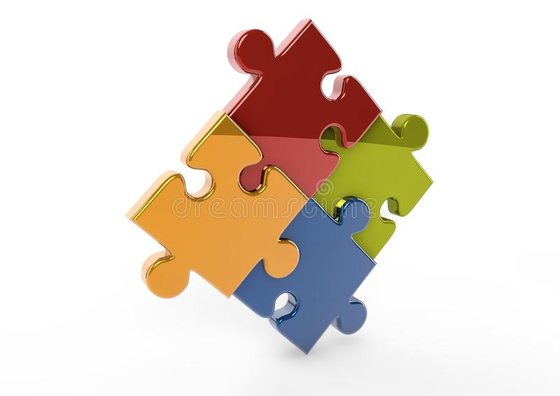 3D Reflective puzzle pieces stock illustration