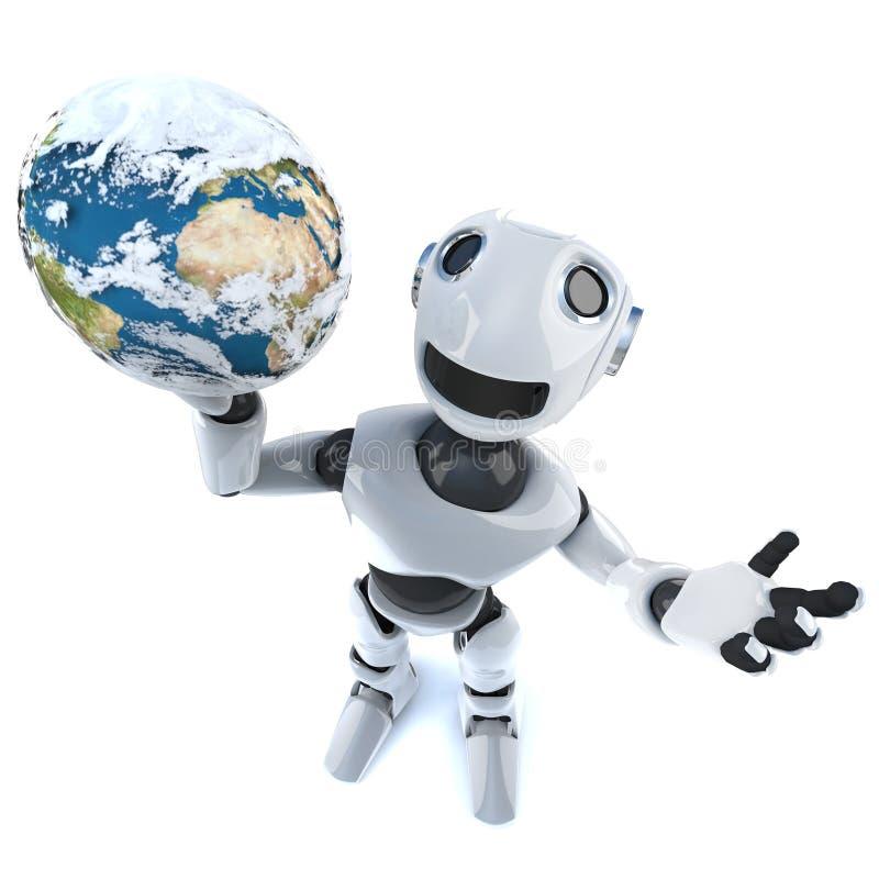 3d refroidissent l'homme mécanique de robot tenant un globe du monde illustration stock