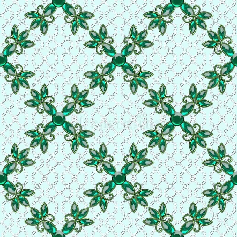 3D regular texture with glass flowers. Green jewelry on green background. back vector illustration