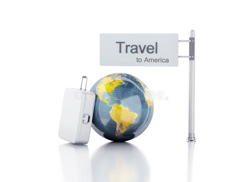 3d reiskoffer en wereldbol reis concept stock illustratie