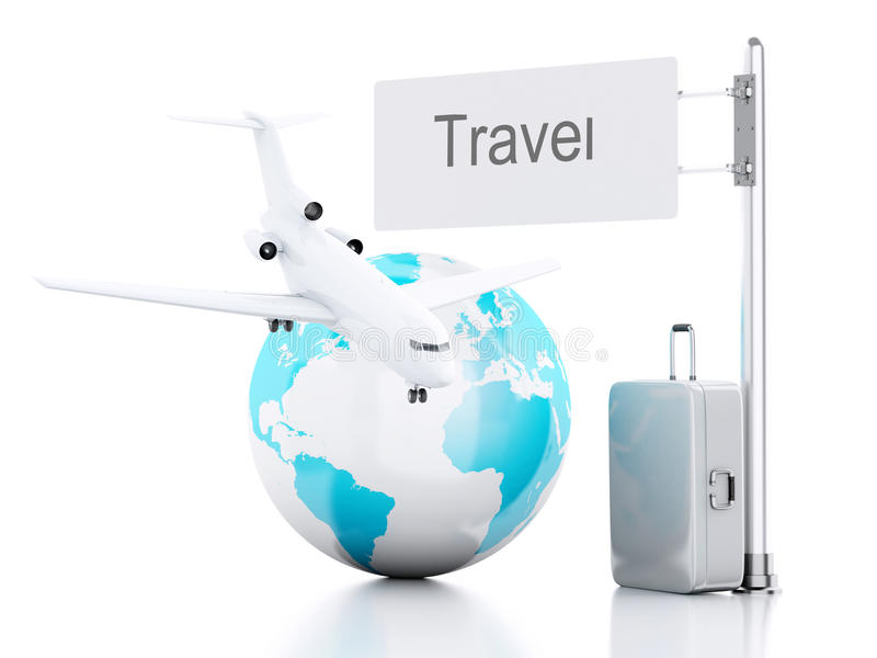 3d reiskoffer, vliegtuig en wereldbol reis concept stock illustratie