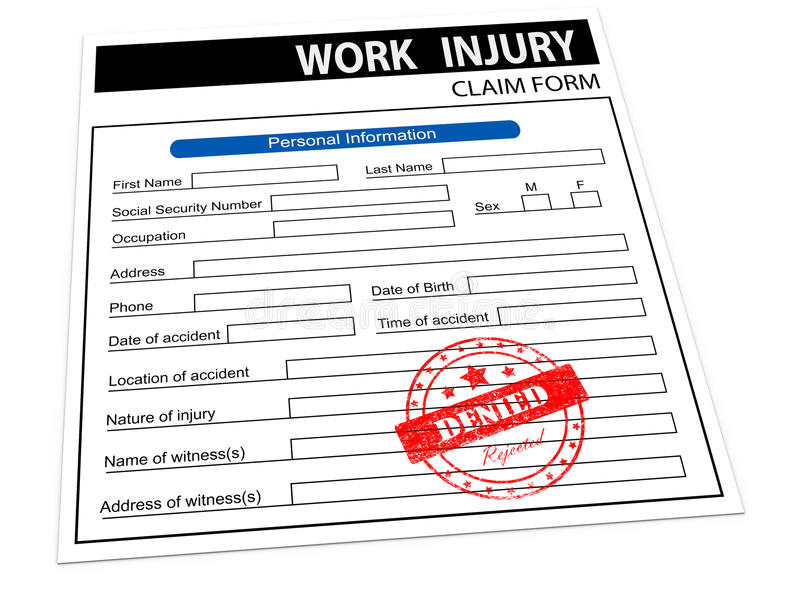 D Rejected Work Injury Claim Form Royalty Free Stock Photography
