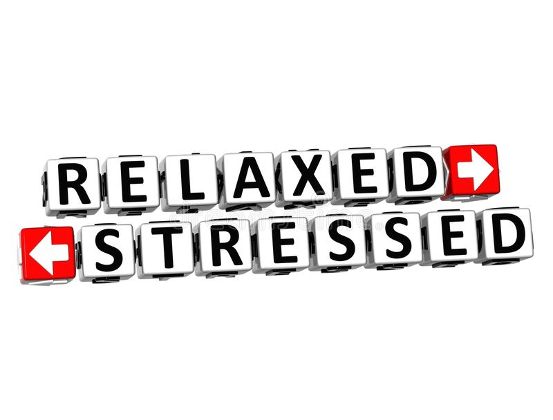 3D Relaxed Stressed Button Click Here Block Text vector illustration