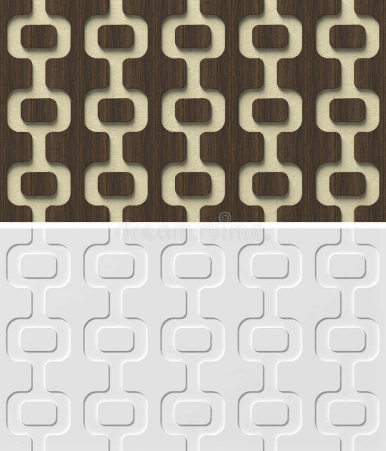 3d relief wall panel with abstract geometric seamless pattern. royalty free illustration