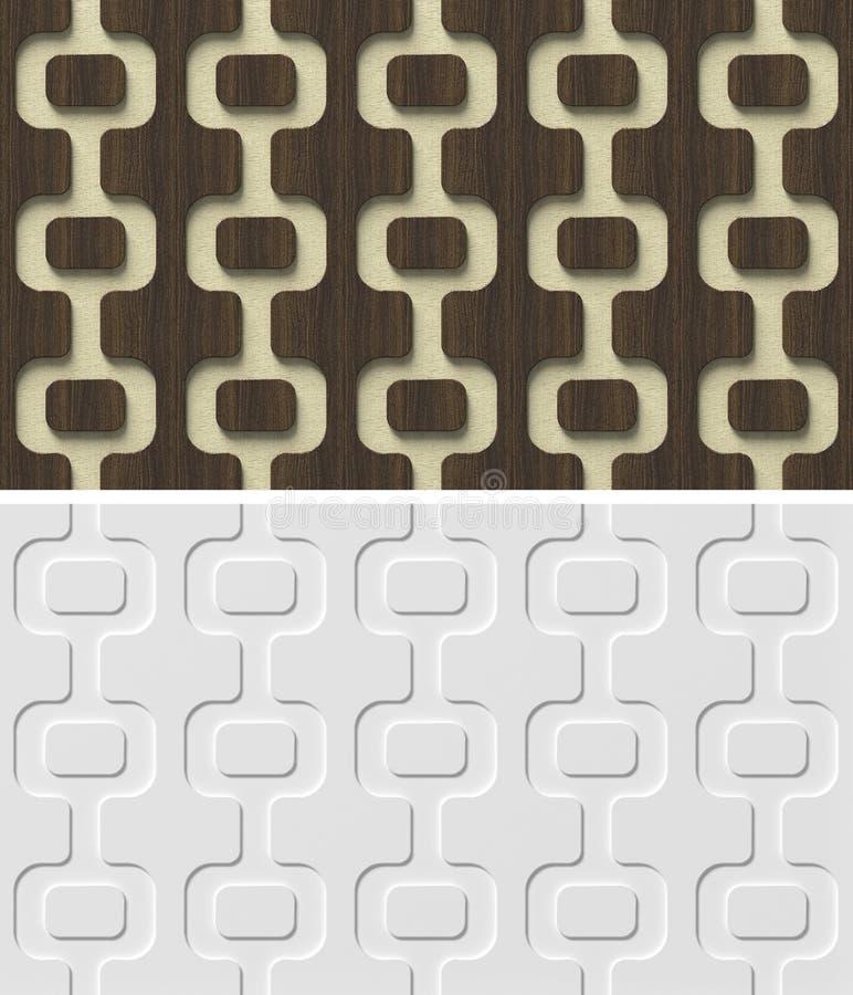 3d reliefowy ścienny panel z abstrakcjonistycznym geometrycznym bezszwowym wzorem. royalty ilustracja