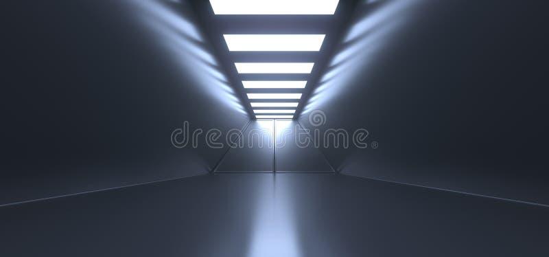 Realistic Empty Dark Corridor With Lights royalty free illustration