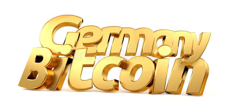 3d d'or rendant Bitcoin Allemagne a isolé les lettres audacieuses illustration stock