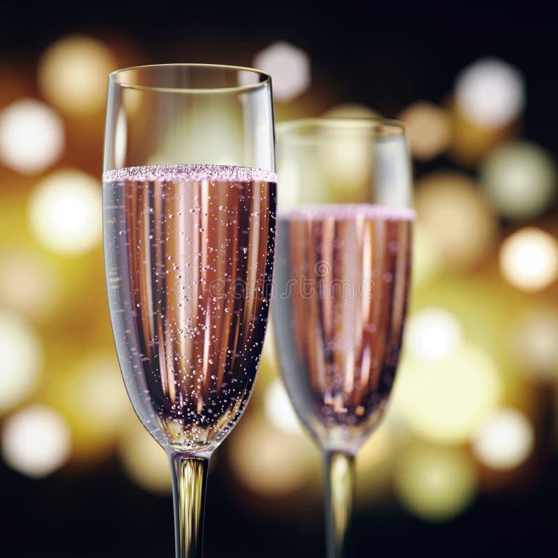 3D rendant deux verres avec du vin rose de champagne illustration stock