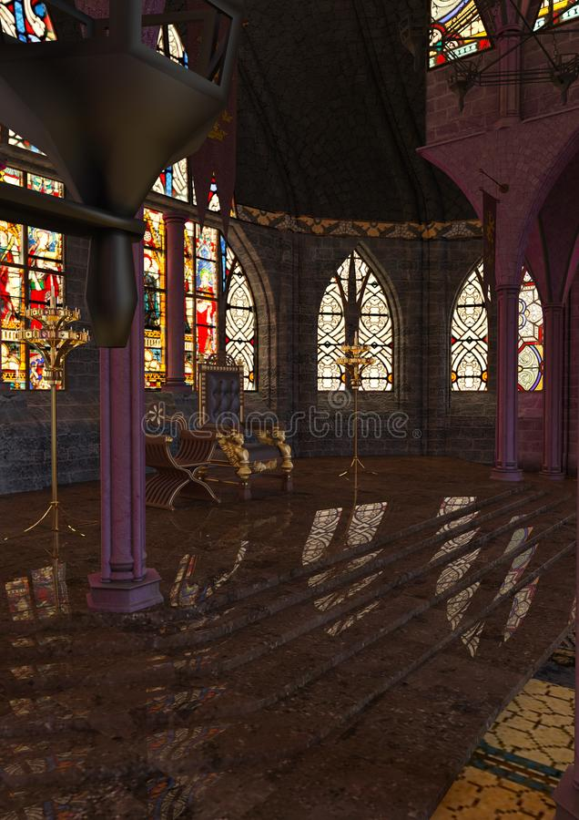 3D rendant Hall royal illustration stock