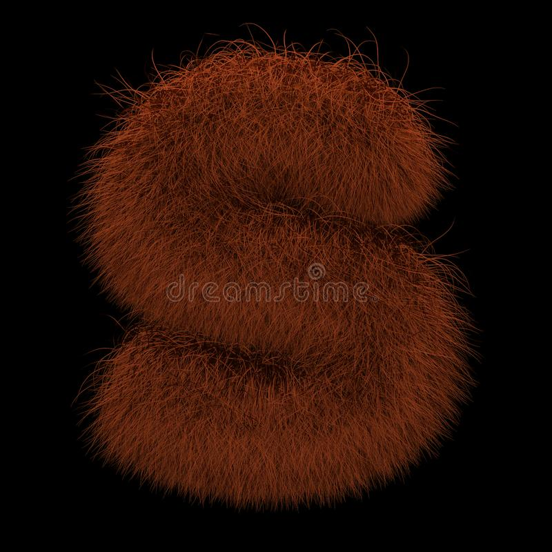3D rendant l'illustration créative Ginger Orangutan Furry Letter S images stock