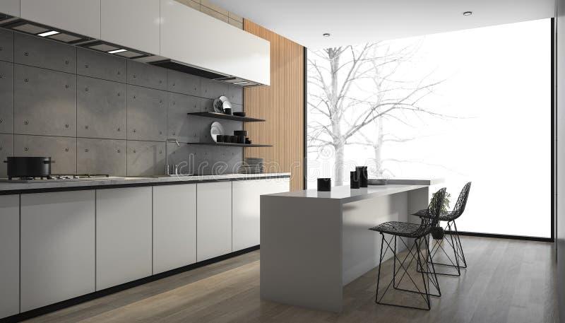 3d rendant la cuisine moderne blanche avec le plancher en bois près de la fenêtre images stock