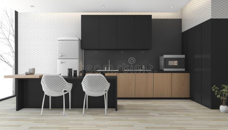 3d rendant la cuisine noire moderne avec le plancher en bois près de la fenêtre illustration libre de droits