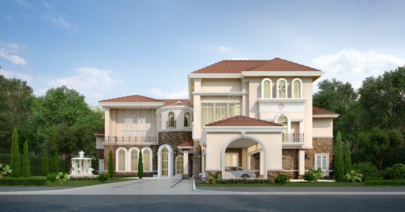 3d rendant la maison classique moderne avec la conception de luxe font du jardinage illustration libre de droits