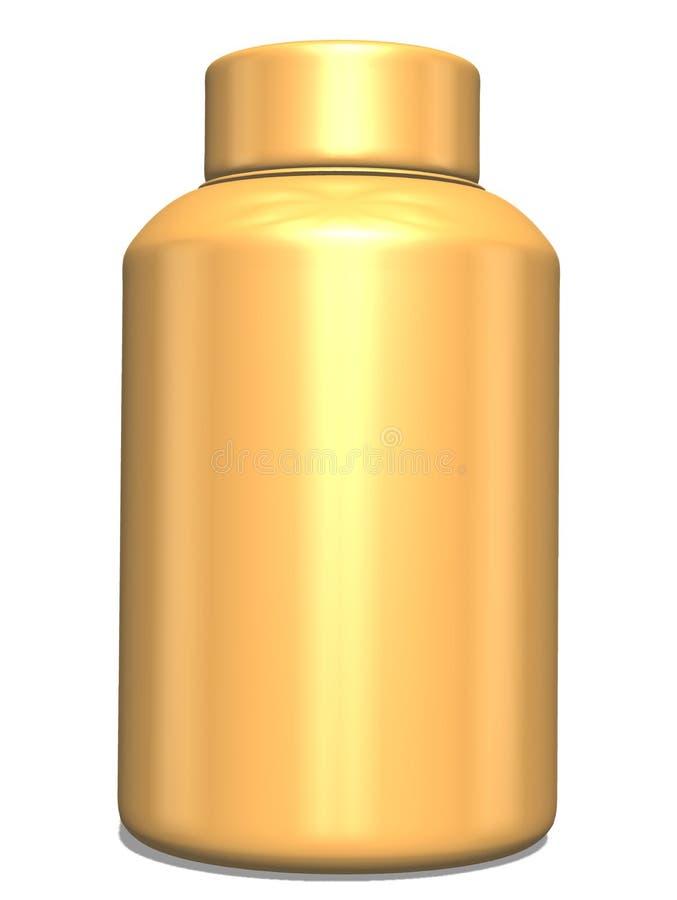 3D rendant la maquette de bouteille d'or Bouteilles pour le jus et autre Maquette réaliste de la bouteille 3D illustration stock