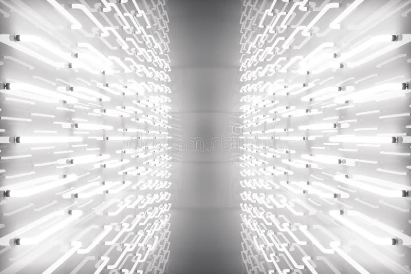 3D rendant la pièce abstraite intérieure avec les lampes au néon Fond futuriste d'architecture Maquette pour votre conception illustration libre de droits