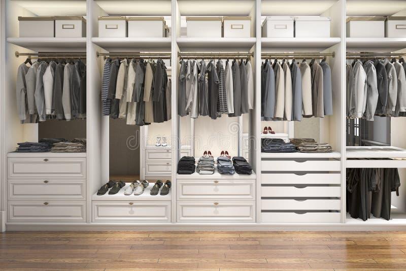 3d rendant la promenade en bois blanche scandinave moderne dans le cabinet avec la garde-robe illustration libre de droits