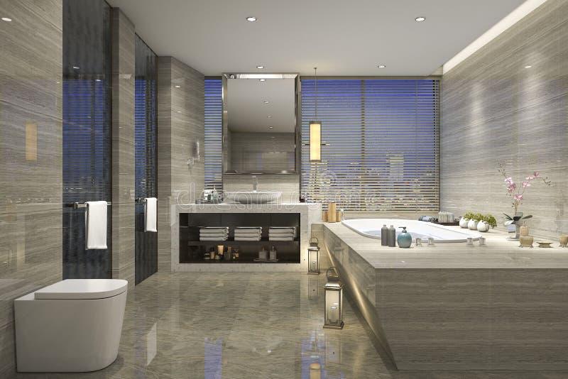 3d rendant la salle de bains classique moderne avec le décor de luxe de tuile avec la vue gentille de nature de la fenêtre illustration libre de droits