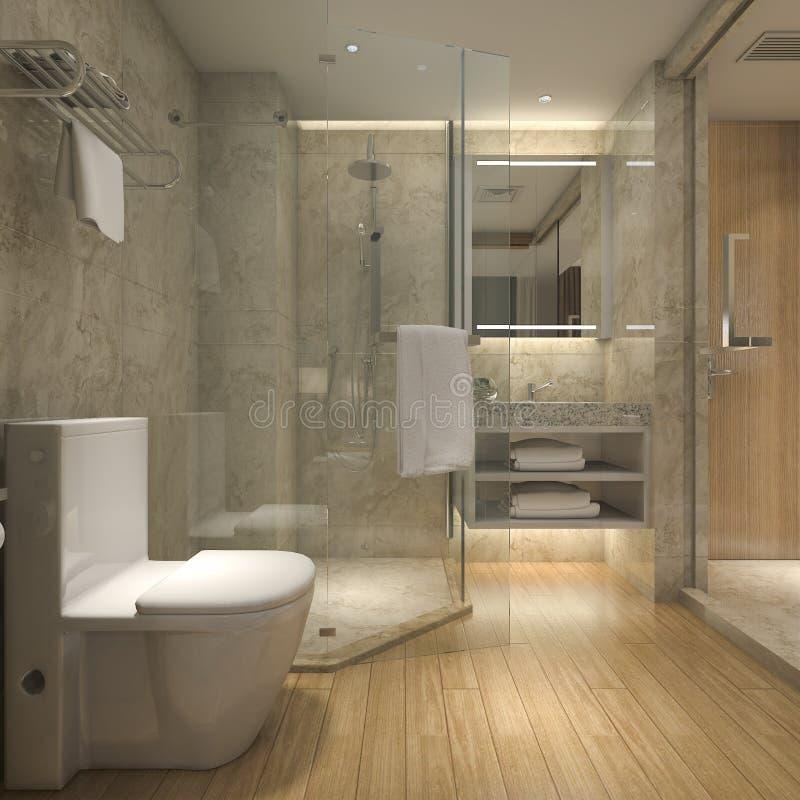 3d rendant la salle de bains en bois de luxe moderne dans l'hôtel de suite illustration de vecteur
