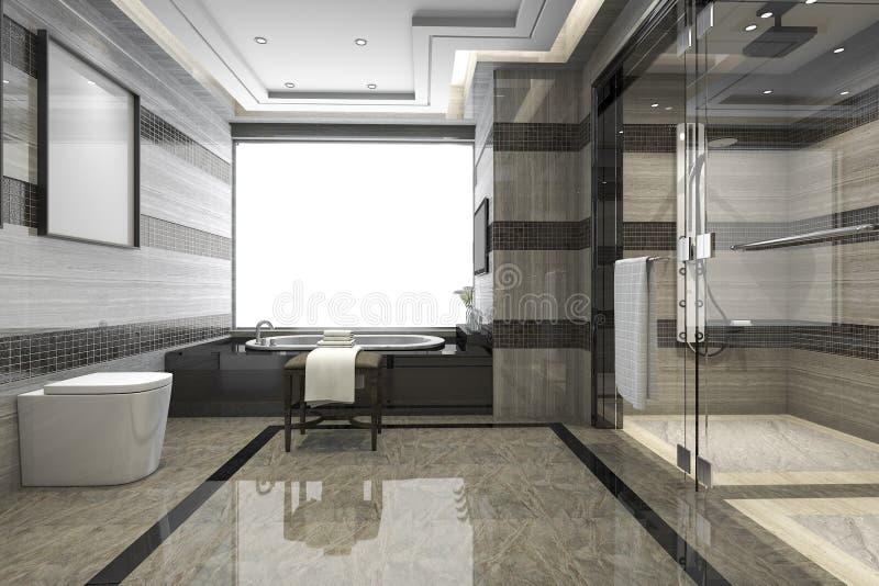 3d rendant la salle de bains moderne noire de grenier avec le décor de luxe de tuile illustration libre de droits