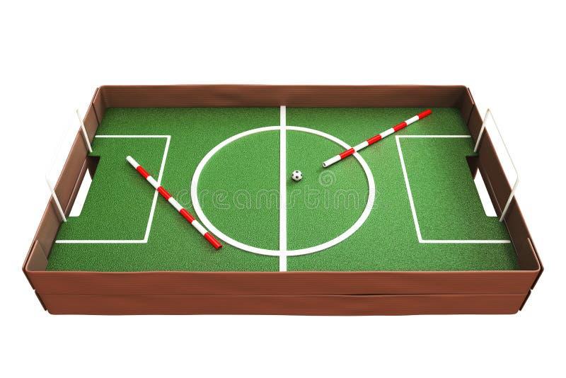 3d rendant la vue de côté du jeu de football de carton d'isolement sur le petit morceau illustration libre de droits