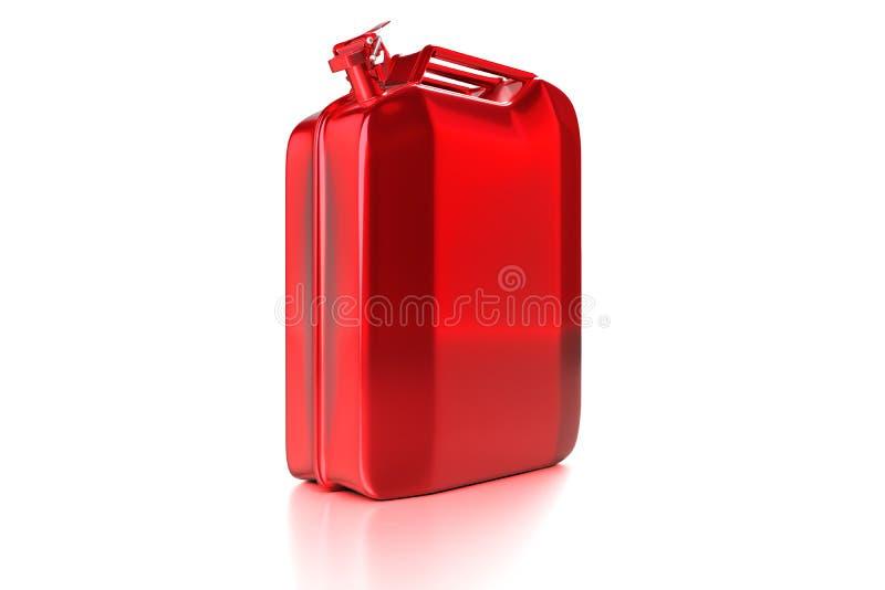 3d rendant la vue de côté du rétro canis d'essence de jerrycan rouge illustration libre de droits