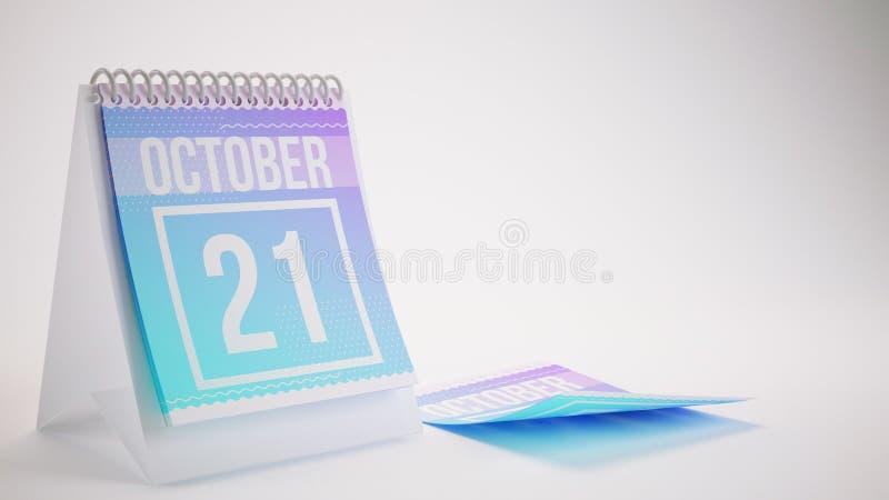 3D rendant le calendrier à la mode de couleurs sur le fond blanc - octobe illustration stock