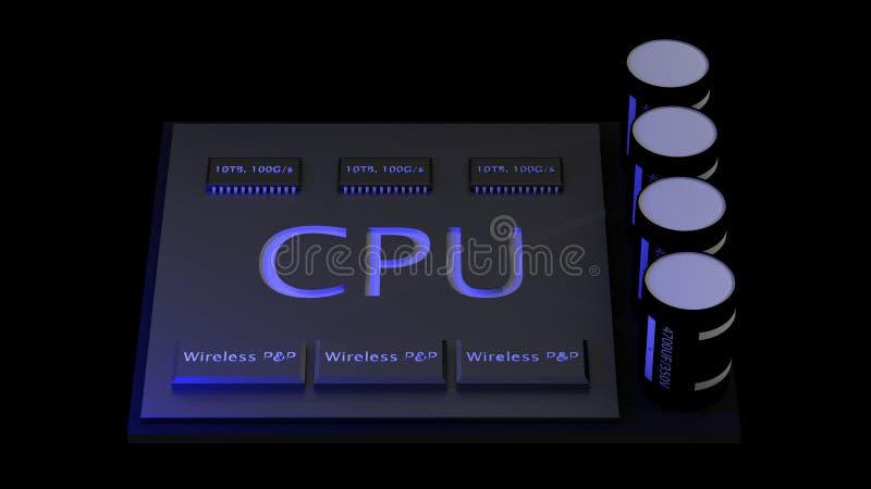 3d rendant le concept d'unité centrale de traitement de processeurs d'ordinateur central technologie illustration de vecteur