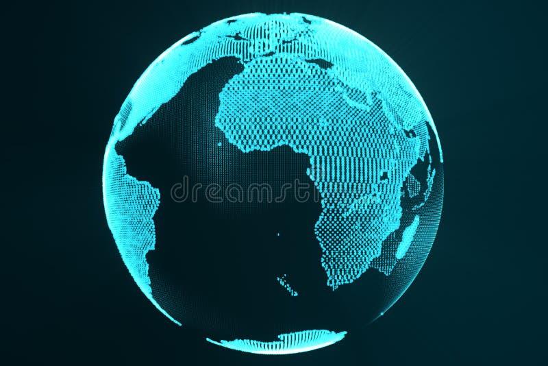 3d rendant le concept numérique d'hologramme de la terre Image de technologie de couleur futuriste bleue de globe avec les rayons illustration de vecteur