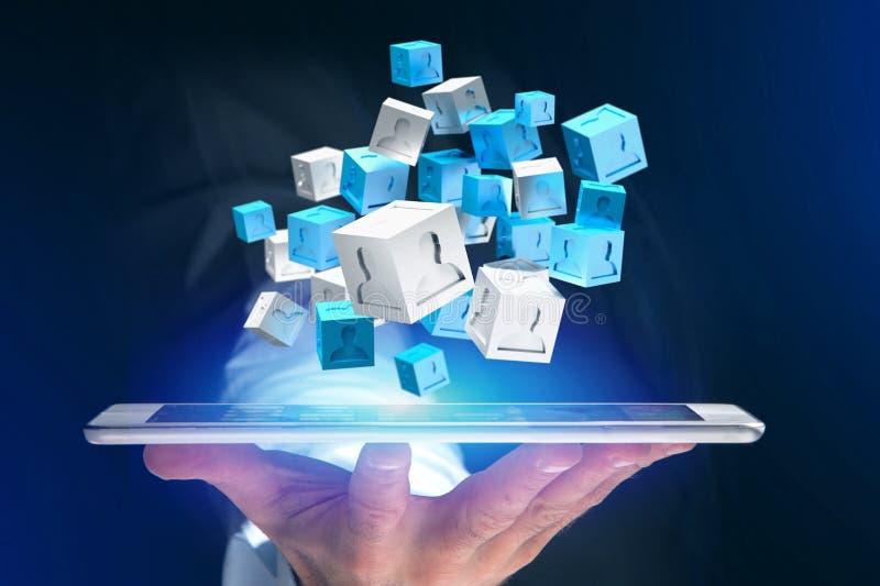 3d rendant le cube bleu et blanc sur une interface futuriste illustration libre de droits