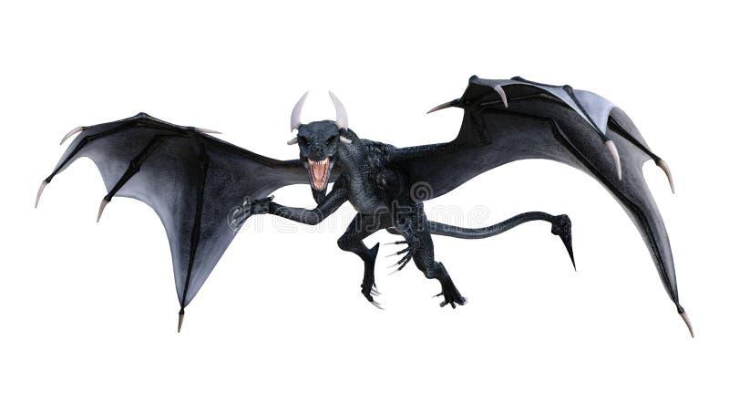 3D rendant le dragon de conte de fées sur le blanc illustration stock