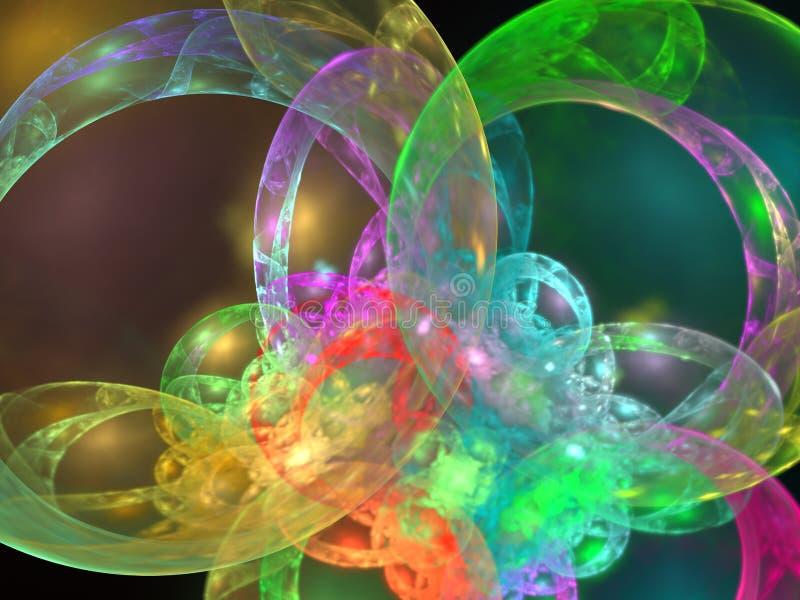 3D rendant le fond abstrait avec le tore et les bulles illustration stock