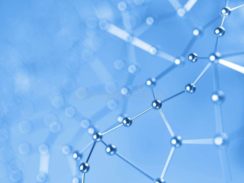 3D rendant le fond futuriste abstrait des points et des lignes Composés moléculaires avec une structure chaotique illustration de vecteur